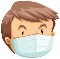Un volto di uomo che indossa una maschera vettore