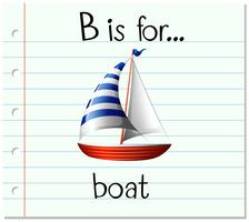 La lettera B di flashcard è per la barca