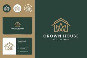 design del logo e biglietto da visita della linea della casa e della corona vettore