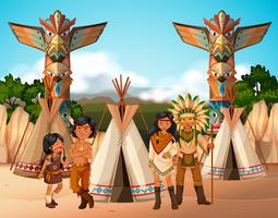 Indiani nativi americani al campeggio vettore