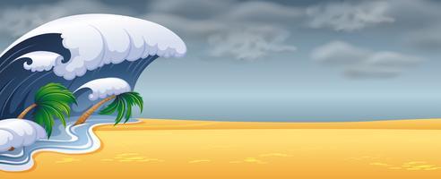 Lo tsunami ha colpito la spiaggia vettore