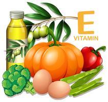 Un set di vitamina E cibo