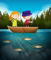Ragazzo e ragazza che pescano nel lago vettore