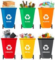 Set di cestino della spazzatura diverso vettore