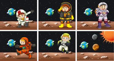 Cinque scene con gli astronauti nello spazio vettore