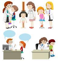 Bambini che hanno una assistenza medica dal dottore vettore