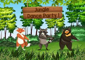 Animali che ballano nella giungla vettore