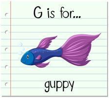 La lettera di flashcard G è per guppy vettore