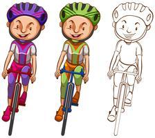 Doodle personaggio per l'uomo in bicicletta vettore