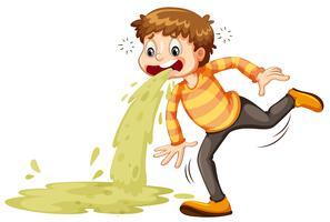 Un ragazzo malato che vomita vettore