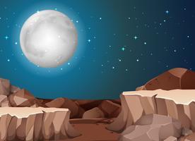 Scena del deserto notturno vettore