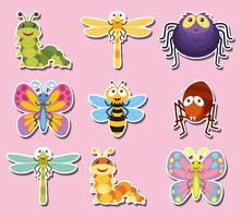Design adesivo con insetti e insetti carini vettore