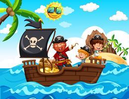 Pirata e bambini sulla barca vettore
