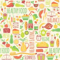 Vector seamless con illustrazione di cibo sano.