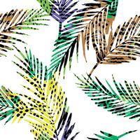 Modello esotico senza cuciture alla moda con palme e animali