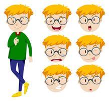 Uomo con molte espressioni facciali vettore