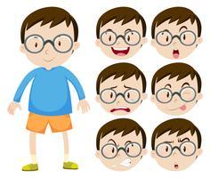 Ragazzino con gli occhiali e molte espressioni facciali vettore