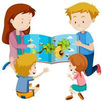 Genitori che leggono il libro ai bambini vettore