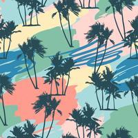 Modello tropicale senza cuciture con palme e sfondo artistico. vettore