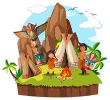 Due nativi americani al campeggio vettore