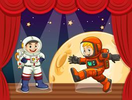 Due astronauti che camminano sul palco vettore
