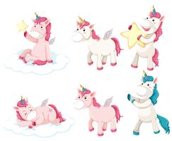 Set di caratteri unicorno vettore