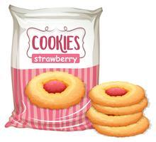 Una borsa di biscotti alla fragola vettore