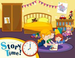 Scena del tempo della storia del bambino vettore