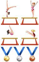 Atleti di ginnastica e donne vettore