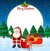Merry christmas card con Babbo Natale e renne