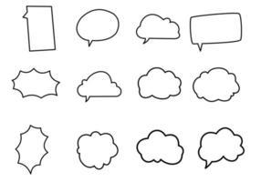 collezione di doodle di bolle di pensiero vettore