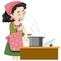 Una madre che cucina la zuppa vettore