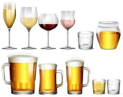 Diversi tipi di bevande alcoliche vettore