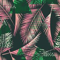 Modello esotico senza cuciture con piante tropicali e sfondo geometrico. vettore