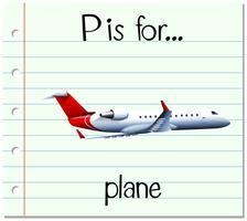 La lettera P di flashcard è per l'aereo