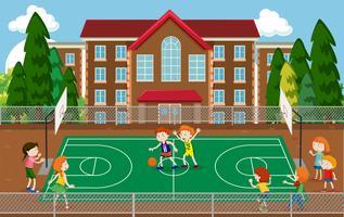 Bambini che giocano a basket vettore