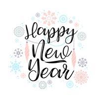 Felice anno nuovo lettering disegni.