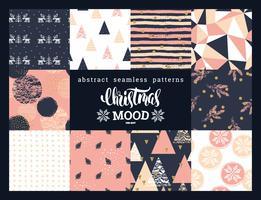 Modelli senza cuciture ornamentali geometrici astratti di Natale e del nuovo anno. vettore