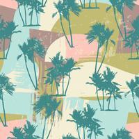 Modello esotico senza cuciture con palme tropicali e sfondo artistico.