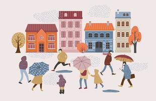Illustrazione vettoriale di persone sotto la pioggia. Umore autunnale.