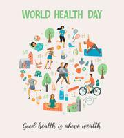 Giornata mondiale della salute. Uno stile di vita sano. vettore