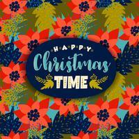 Cartolina di Natale con Poinsettia. vettore