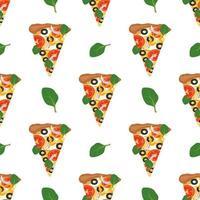 modello senza soluzione di continuità con la pizza. stampa alimentare con verdure e formaggio vettore
