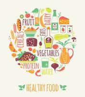 Illustrazione vettoriale di cibo sano.