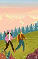 attività all'aperto coppia felice escursionismo vettore