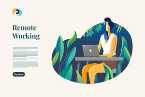 Lavoro a distanza. Illustrazione di vettore di lavoratore freelance