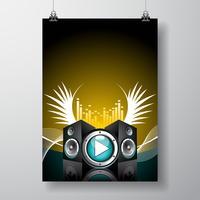 Illustrazione di volantino per tema musicale con altoparlanti e ala