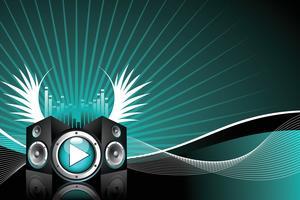 illustrazione vettoriale per tema musicale con altoparlanti e ala