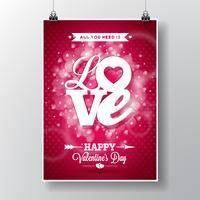 Vector l'illustrazione dell'aletta di filatoio su un tema di San Valentino con progettazione tipografica di amore