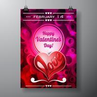 Illustrazione di giorno di San Valentino con lo spazio del testo e il cuore di amore vettore
